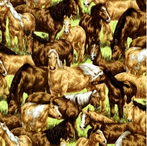 Picture of Farm Living Horses Grazing In The Field Cotton Fabric