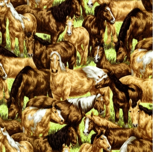 Farm Living Horses Grazing In The Field Cotton Fabric