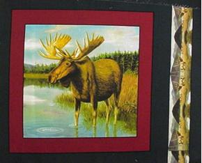 Wild Moose Standing In The Lake Cotton Fabric Pillow Panel