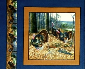 Wild Turkey 3 Turkeys In The Woods Blue Cotton Fabric Pillow Panel