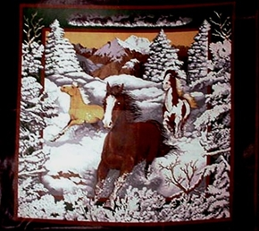 Horses Running In The Snow Cotton Fabric Pillow Panel