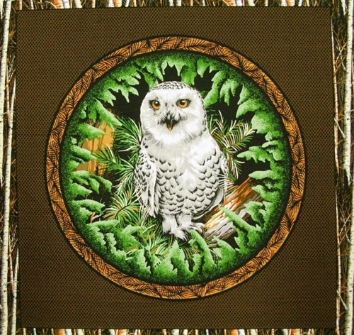 Wood Haven Owl Birch Tree Border Cotton Fabric Pillow Panel
