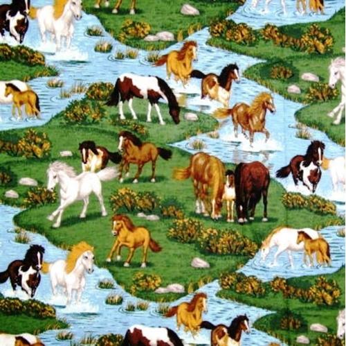 River Run Wild Horses Cotton Fabric