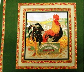Country Fresh Eggs Rooster Cotton Fabric Pillow Panel