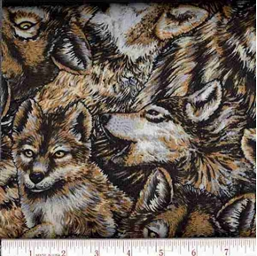Wolves In The Wild Wolf Head Collage Cotton Fabric