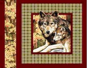 Mother Wolf And Cubs Brown Plaid Cotton Fabric Pillow Panel