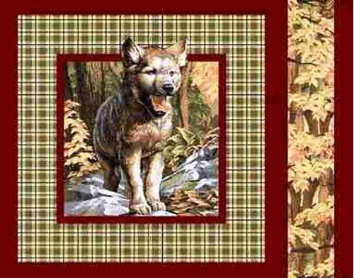 Wolf Pup On Brown Plaid Cotton Fabric Pillow Panel