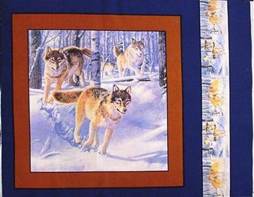 Picture of Wild Wolves Running Through Snowy Woods Cotton Fabric Pillow Panel