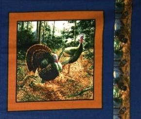Wild Turkey 2 Turkeys In The Woods Blue Cotton Fabric Pillow Panel