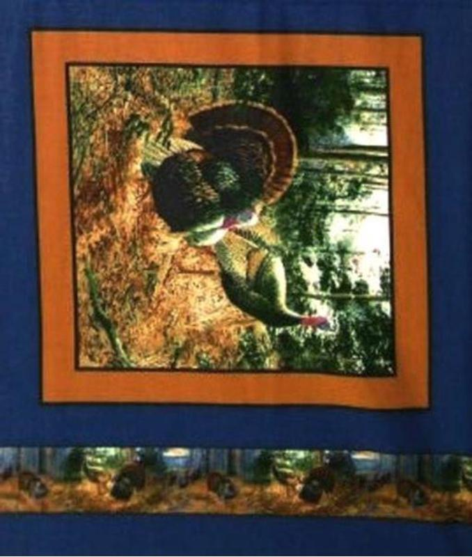 Picture of Wild Turkey 2 Turkeys in the Woods Blue Cotton Fabric Pillow Panel