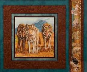 Territorial Trail 3 Wolves Prowling Cotton Fabric Pillow Panel