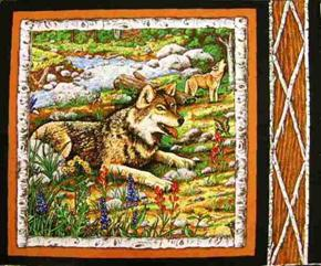Picture of Wolf by the Brook Birch Branch Framed Cotton Fabric Pillow Panel