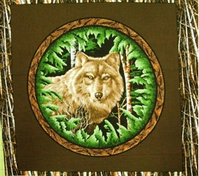 Picture of Wood Haven Wolf Birch Tree Border Cotton Fabric Pillow Panel