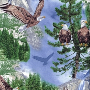 Nature Outdoors Bald Eagles In Trees In Flight On Blue Cotton Fabric