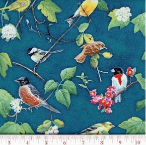 Heavens Breath Songbirds On Branches Cotton Fabric