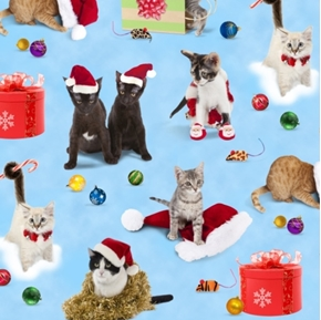 Holiday Friends Cats, Presents and Ornaments Cotton Fabric