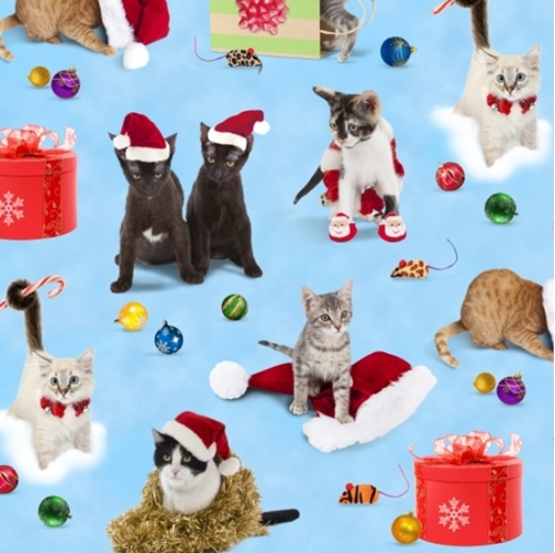 Cotton fabric animal fabric holiday friends cats for Christmas cat yard decorations