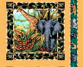 Out Of Africa Elephant And Giraffe Cotton Fabric Pillow Panel