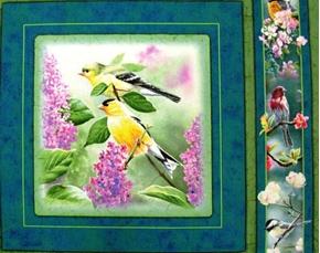 Heavens Breath Songbird Yellow Finch Cotton Fabric Pillow Panel
