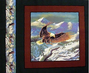 Majestic Bald Eagle Snowy Branch Cotton Fabric Pillow Panel