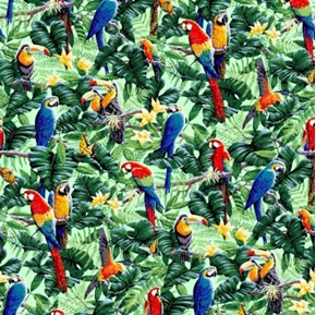 Tropical Birds Toucans And Parrots On Blue Cotton Fabric