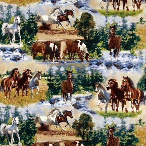 Wild Horses Scenic Horses Running And Grazing Cotton Fabric