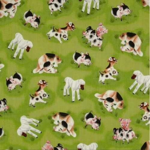 Fuzzy Duckling Pigs Sheep and Dogs on Green Cotton Fabric