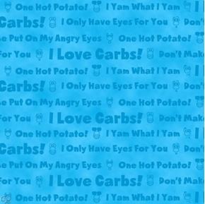 Hot Potatoes Potato Head Phrases on Blue Cotton Fabric