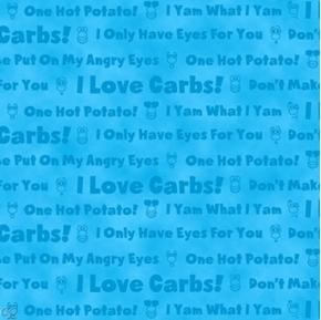 Hot Potatoes Potato Head Phrases on Blue Cotton Fabric