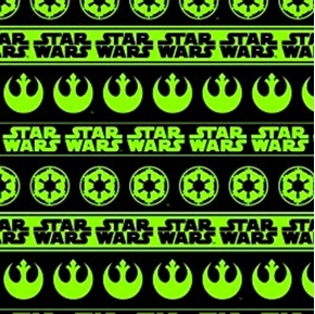 Picture of Star Wars Rebel and Empire Logo Stripes Green Cotton Fabric