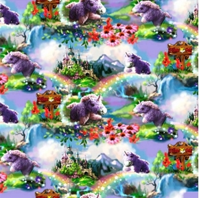 Pillow Pets Unicorn Rainbows and Flowers Cotton Fabric