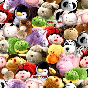 Pillow Pets Pillow Faces All Over Cotton Fabric