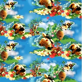 Picture of Pillow Pets Bumble Bee and Flowers Cotton Fabric