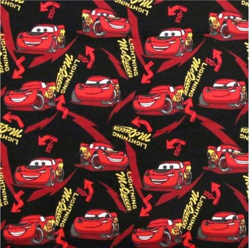 Flannel Disney Cars Lightning McQueen Black Cotton Fabric