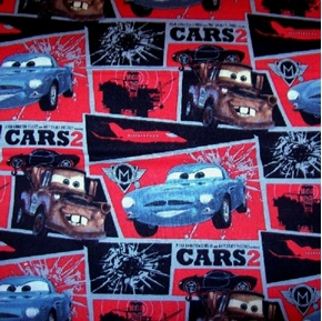 Picture of Disney Cars 2 in Black and Red Squares Cotton Fabric