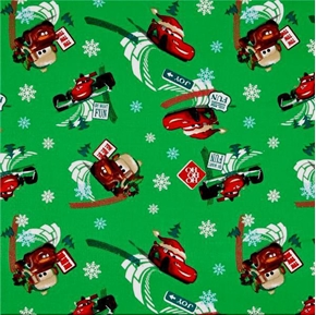 Disney Cars Fuel Tide Christmas Green Cotton Fabric