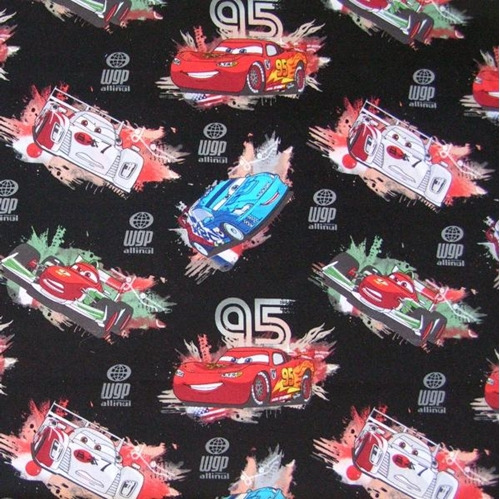 Disney Cars Characters All Over on Black Cotton Fabric