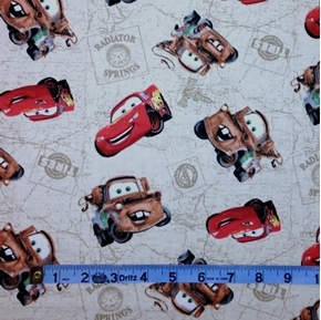 Picture of Disney Cars Characters on Beige Cotton Fabric