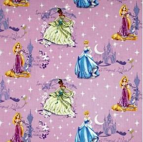 Picture of Disney Princess Glow Scenic Purple Cotton Fabric