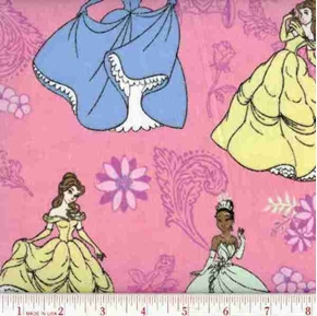 Flannel Disney Princesses Dancing Pink Cotton Fabric