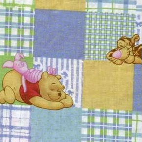 Picture of Disney Winnie the Pooh on Pastel Squares Cotton Fabric