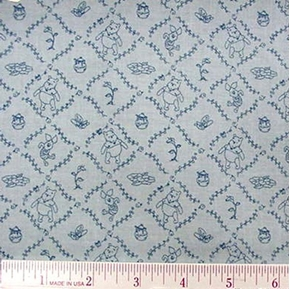 Disney Piglet And Winnie The Pooh Squares Blue Cotton Fabric
