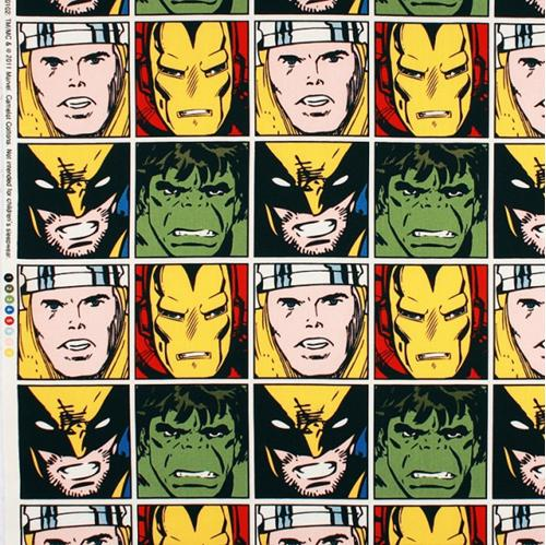 Marvel Comics Superheroes In Squares 20X22 Cotton Fabric