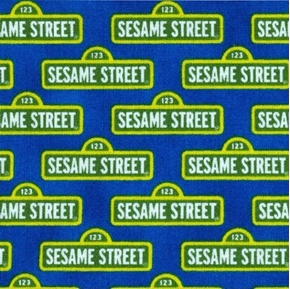Picture of Sesame Street Signs in Rows on Royal Blue Cotton Fabric