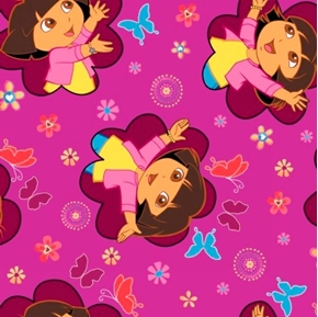 Dora The Explorer Chase Butterflies Purple Cotton Fabric