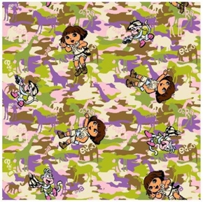 Dora The Explorer and Monkey on Camouflage Cotton Fabric