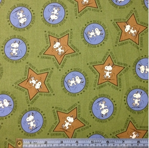 Hugs for Heroes Peanuts Snoopy Star Circle Green Cotton Fabric
