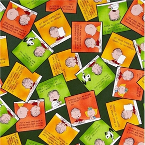 Peanuts Linus Letters to Great Pumpkin Green Cotton Fabric