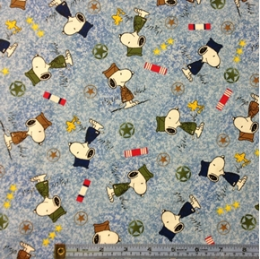 Hugs for Heroes Peanuts Snoopy Stars Grass Blue Cotton Fabric
