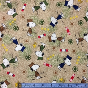 Picture of Hugs for Heroes Peanuts Snoopy Stars Grass Beige Cotton Fabric